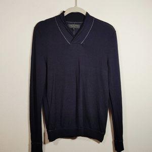 Rag & Bone Navy Blue Wool Shawl Collar Sweater S